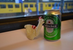 Lama having an Heineken in the train :)